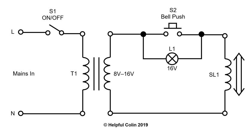Bell Push Schematic With Old Bulb