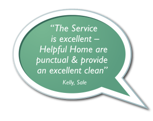 Speech Bubbles - The Service is excellent – Helpful Home are punctual & provide an excellent clean.