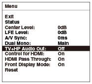 Selecting simultaneous audio output to a TV speaker and