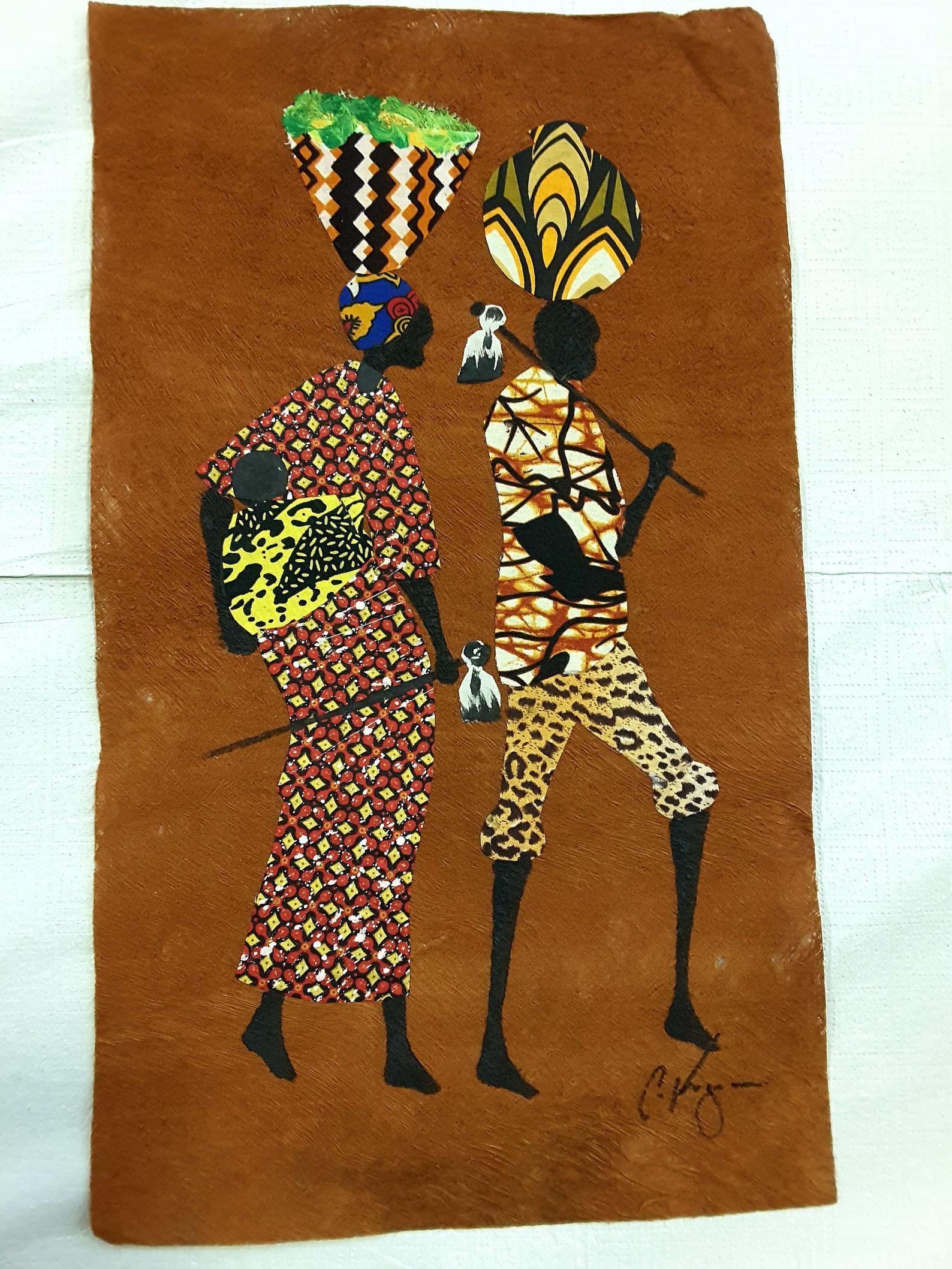 Hand-painting-on-a-historical-bark-cloth-III