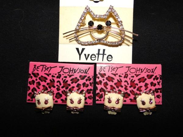 Rhinestone Cat Pin And Betsey Johnson Earrings Helping