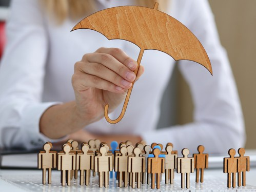 Picture of umbrella over people