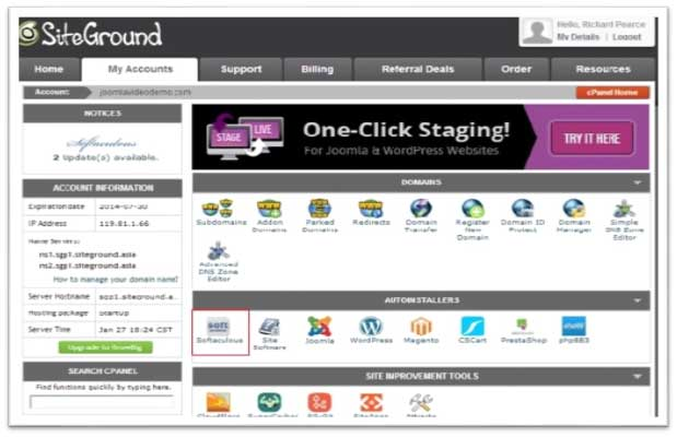 Joomla Locating cPanel