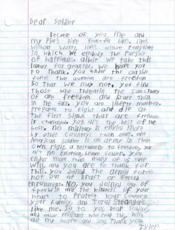 letters to soldiers examples
