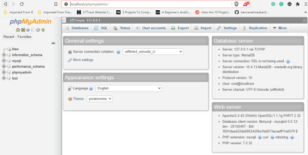 open phpmyadmin to create database