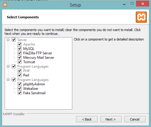 select necessary components to install