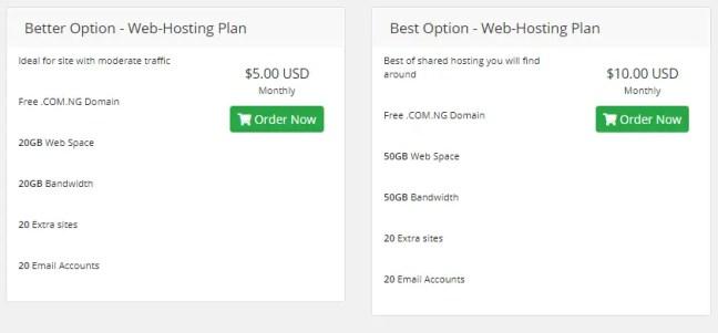 Hoster Ng website hosting plans