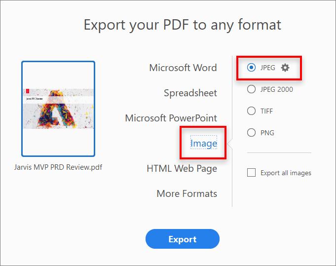 How to convert PDF to JPG using Adobe Acrobat