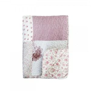 Quilt m. blomsterprint & blondebånd