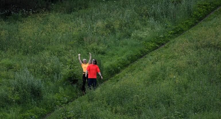 Baban ja Tommin ensimmänen City Trail -lenkki herätti spontaanit tuuletukset.