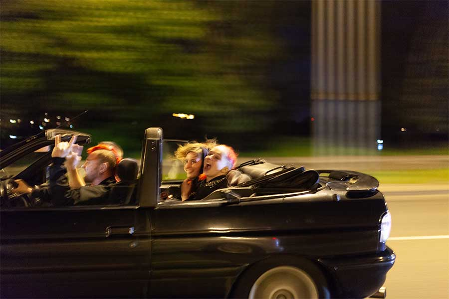 Night car ride with punks in Warsaw from the series 100% girls punk-rock from East Europe by  Evgeni Attsetski
