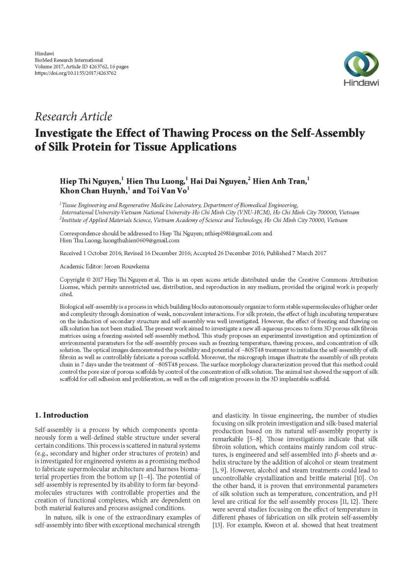 [6] Investigate the Effect of Thawing Process on the Self-Assembly of Silk Protein for Tissue Applications