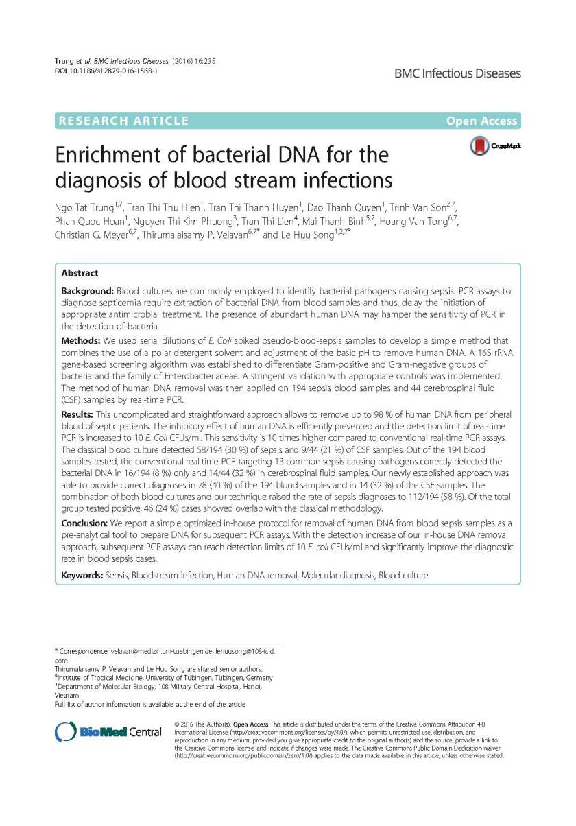 Enrichment of bacterial DNA for the diagnosis of blood stream infections