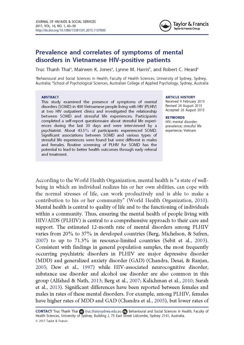 Prevalence and correlates of symptoms of mental disorders In Vietnamese HIV positive patients