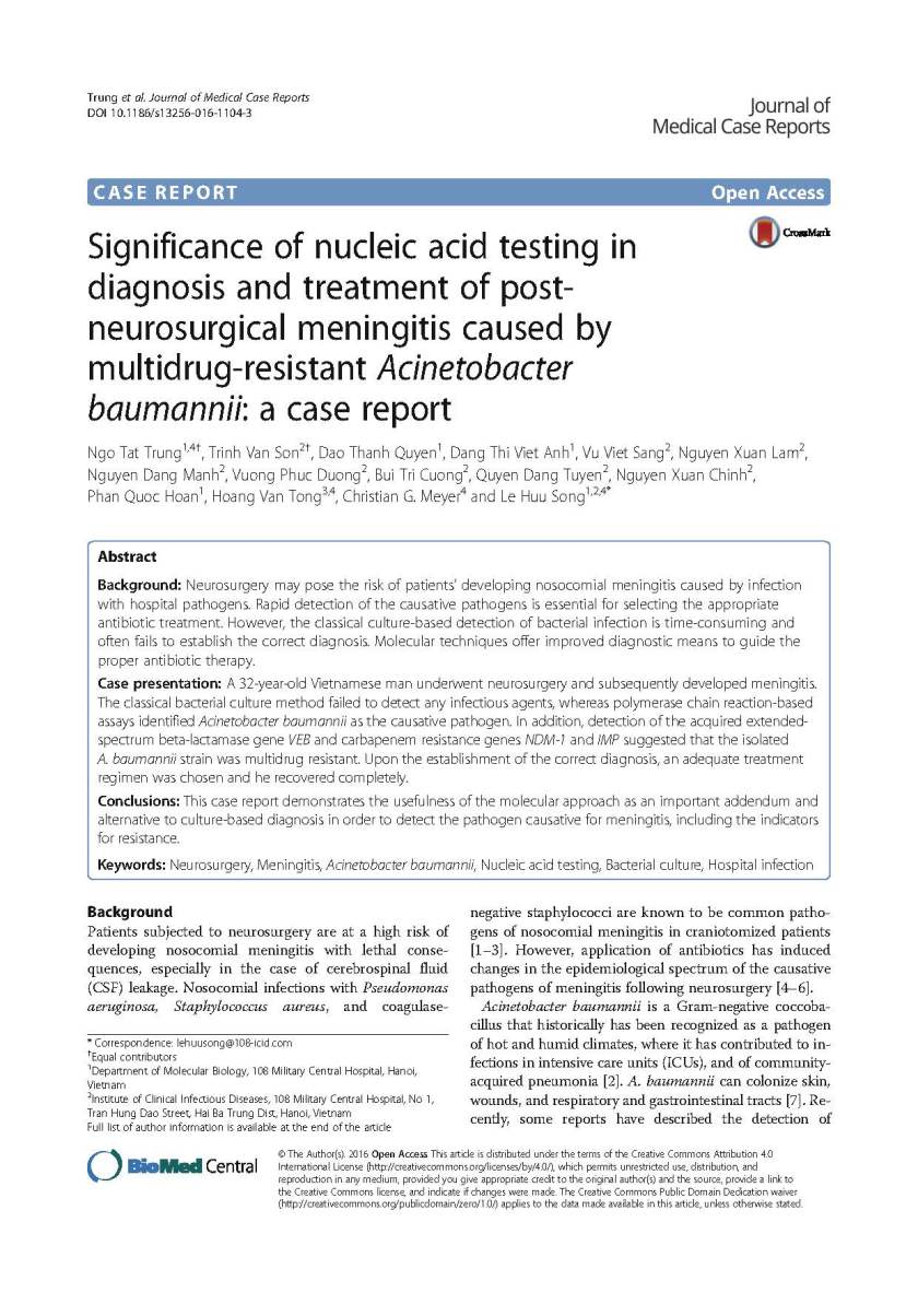Significance of nucleic acid testing in diagnosis and treatment of post-neurosurgical meningitis caused by Acinetobacter Baumanii- a case report