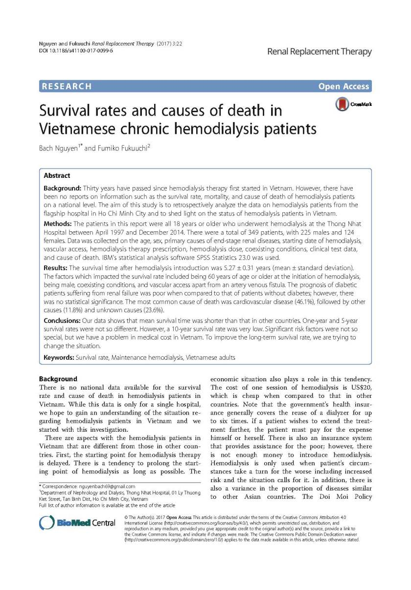 Survival rates and causes of death in Vietnamese Chronic Hemodialysis patients