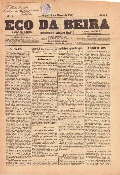 Eco Da Beira Nº4 13 03 1910 Peq