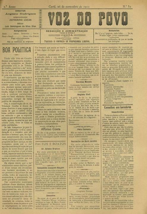 Voz Do Povo Nº52 26 11 1911 P