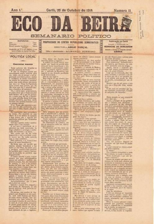 Eco Da Beira Nº11 25 10 1914 P