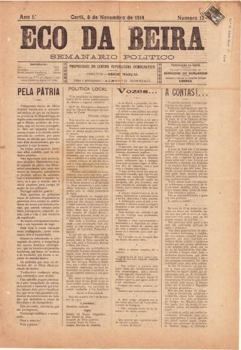 Eco Da Beira Nº13 08 11 1914 P