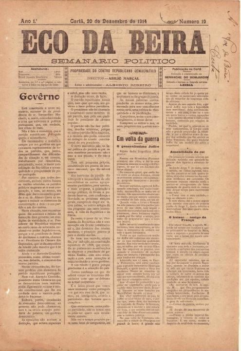 Eco Da Beira Nº19 20 12 1914 P
