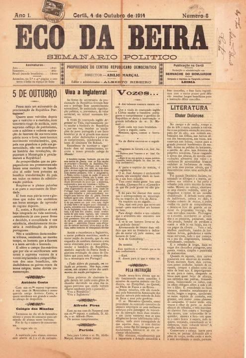 Eco Da Beira Nº8 04 10 1914 P
