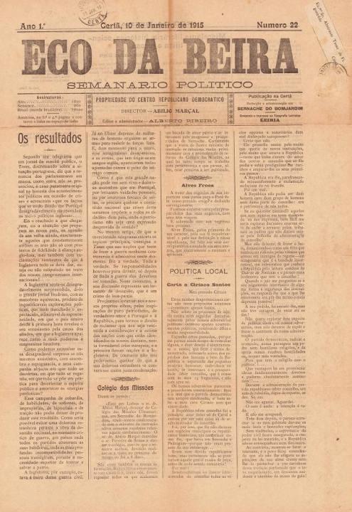 Eco Da Beira Nº22 10 01 1915 P