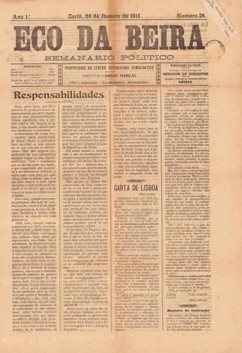 Eco Da Beira Nº24 24 01 1915 P
