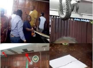 Des images montées montrant l'incident de ce jeudi lors de la plénière de l'Assemblée provinciale de Ondo, Nigeria © Montage HA