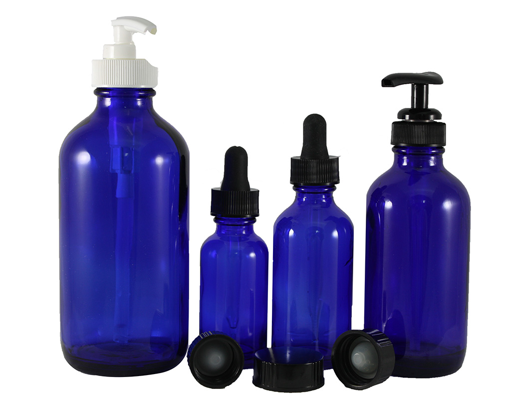 Blue Glass RBottles W/Black Glass Droppers
