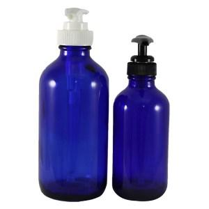 Blue Glass bottle W/Lotion Pumps