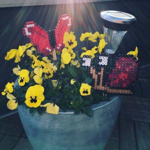 Blompinnar gjort i pärlplatta. Bild på snigel och fjäril.
