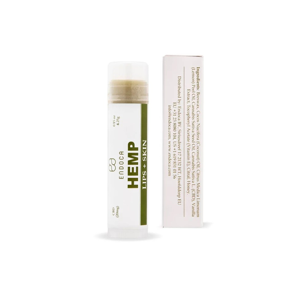 Endoca CBD lip balm on white background