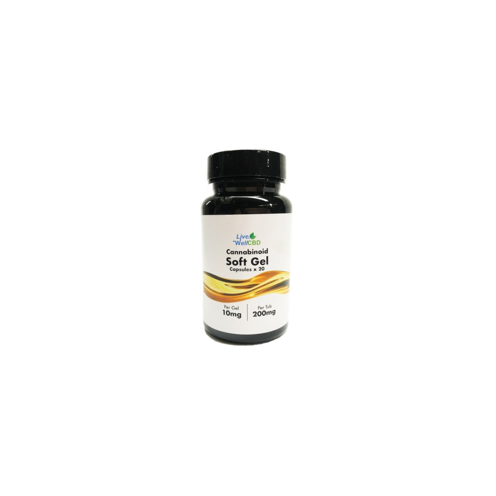 pack of CBD Capsules on white background