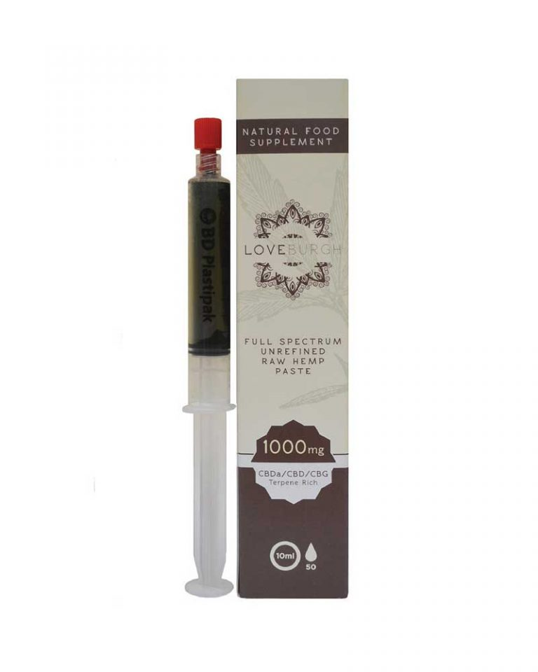 syringe of cbd paste on white background