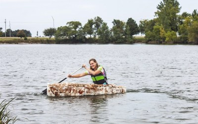 Is fungus the answer to climate change? Student who grew a mushroom canoe says yes.