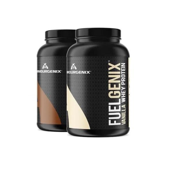 Armougenix fuelgenix whey protein powder vanilla chocolate