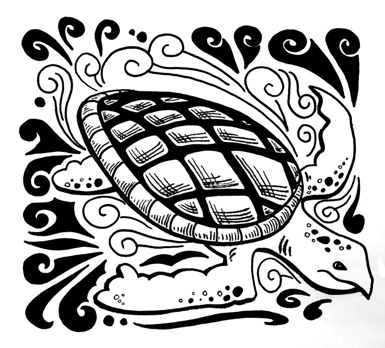 Inktober 2 – Sea Turtle