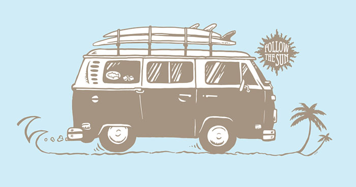 Follow the sun – VW bus t-shirt graphic