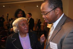 Seen & Heard: Dr. Hicks and John Gartrell speaking after the panel discussion.