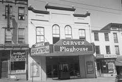 Exterior view of Carver Playhouse, 1429 Pennsylvania Avenue, Baltimore, circa 1953. Paul Henderson, HEN.00.B1-036.