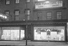 Night scene. Hub Furniture Company. 710 Pennsylvania Avenue, Baltimore, circa 1954. Paul Henderson, HEN.00.B1-098.