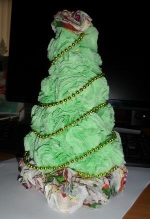 Pomul de Crăciun de șervețele de hârtie o face tu, Foto № 24