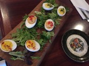 Deviled duck eggs, one of the most popular choices, come in three delicious varieties—traditional, smoked trout and chipotle gorgonzola.
