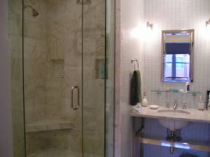 CUSTOM MARBLE SHOWER & GLASS TILE VANITY
