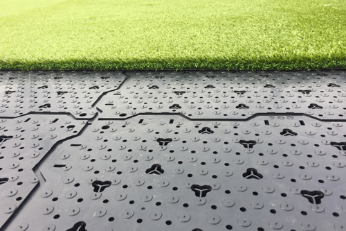 base panel drainage fall protection synthetic turf