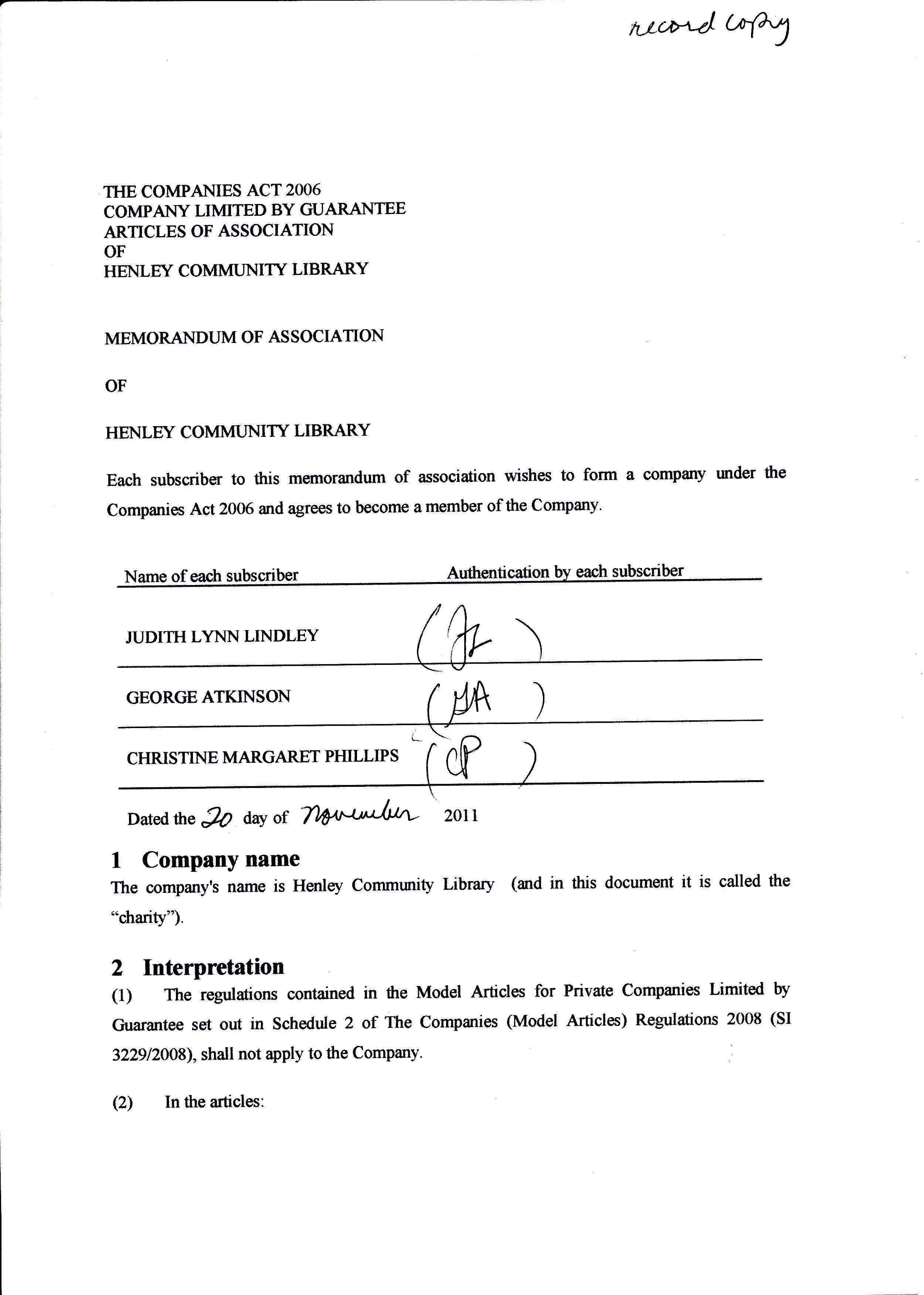 Community Grants – Memorandum Of Association
