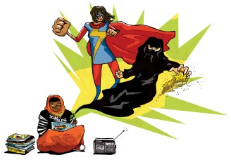 "Illustration for ""Diversity in Comics"" article by Nour Khelifi in Progress Magazine"