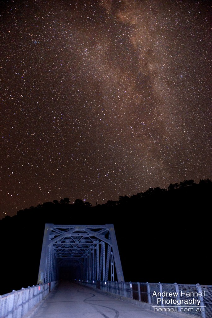 Taemas Bridge, looking North, under the Milky Way