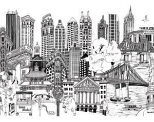 york drawing buildings wall nyc hennie haworth newyork artwork